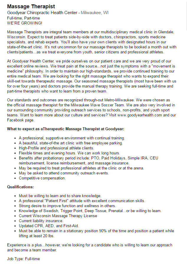 Massage Therapist Job Posting Goodyear Chiropractic Health Center